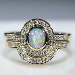 Natural Australian Opal and Diamond Engagement Wedding Set Rings