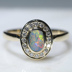 Natural Australian Semi Black Opal and Dimond Gold Ring
