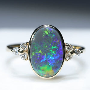Natural Australian Black Opal Gold and Diamond Ring