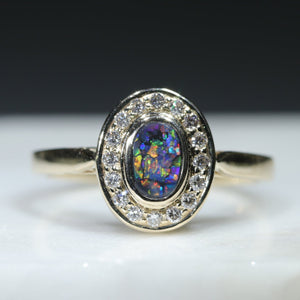 Natural Australian Black Opal and Diamond Gold Ring