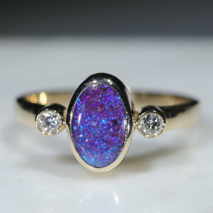 natural Australian Boulder Opal Gold and Diamond Ring