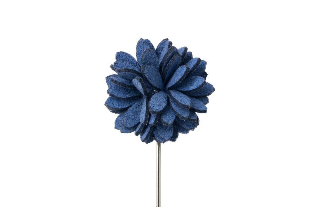 ***NEW*** Eva Blue Leather Flower Lapel Pin (S/S 2017)