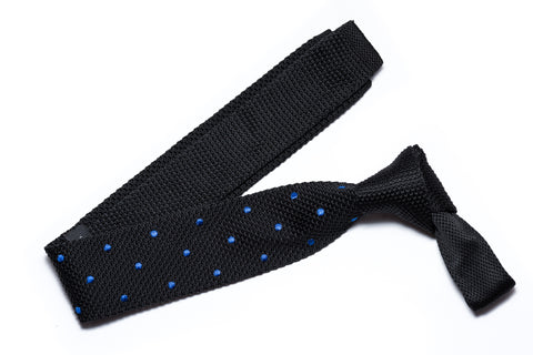 Malibu Navy Blue with Red Polka Dots Knitted Tie