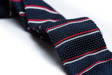 Catalina Navy Blue with Red and White Stripes Knitted Tie