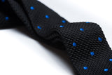 Redondo Black with Blue Polka Dots Knitted Tie