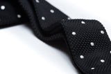 Belmont Black with White Polka Dots Knitted Tie