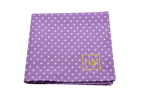 Howard Matthews Co. Purple with White Polka Dots Pasadena Pocket Square