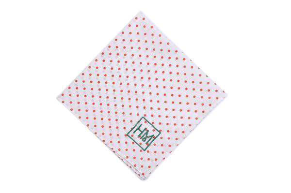 Howard Matthews Co. White with Orange Polka Dots Huntington Pocket Square