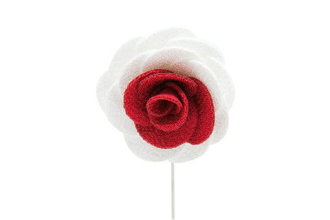 Stephanie White/Red Flower Lapel Pin (S/S 2015)