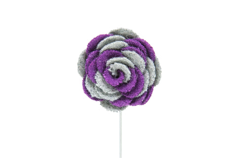 Ashley Grey/Purple Flower Lapel Pin (S/S 2015)