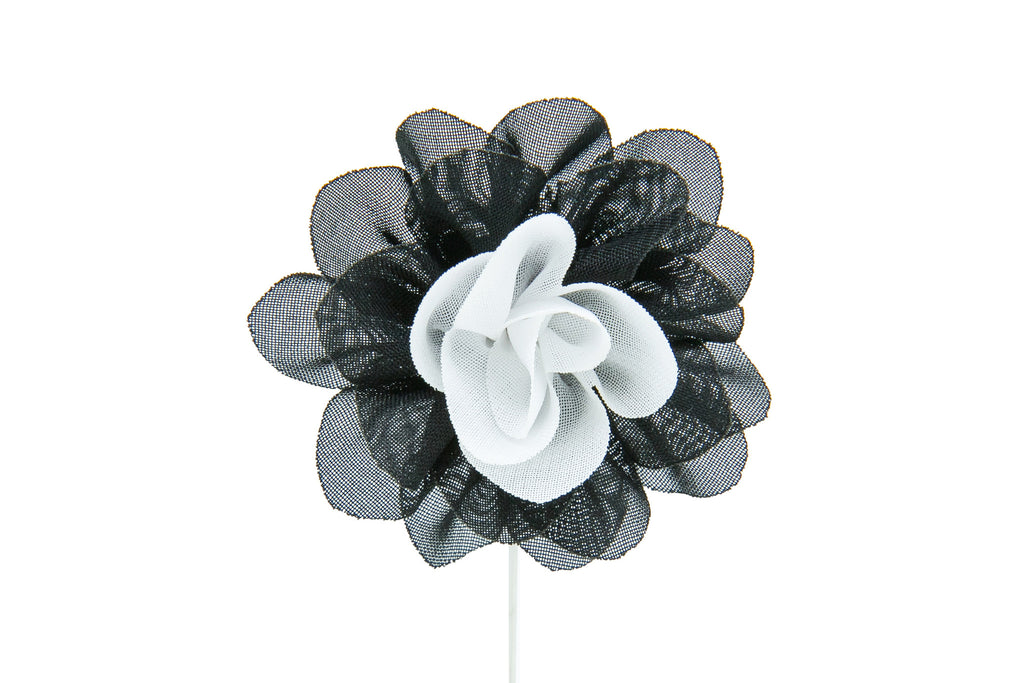 Christina Black/White Flower Lapel Pin (S/S 2015)