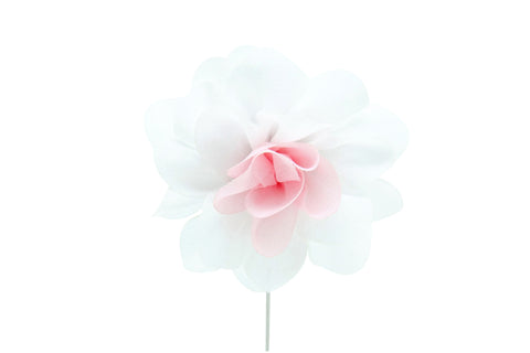 Christina White/Pink Flower Lapel Pin (S/S 2015)