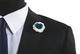 Alexandria White/Blue Flower Lapel Pin (S/S 2015)