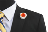 Alexandria White/Orange Flower Lapel Pin (S/S 2015)