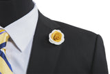 Alexandria White/Yellow Flower Lapel Pin (S/S 2015)