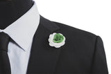 Alexandria White/Green Flower Lapel Pin (S/S 2015)