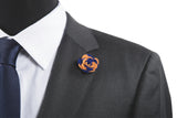 Ashley Blue/Orange Flower Lapel Pin (S/S 2015)