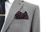 Howard Matthews Co. Black with Pink Polka Dots Sunset Pocket Square
