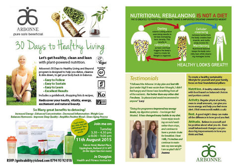 Tuesday 11th August - Arbonne Wellness Event