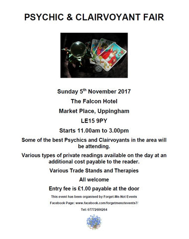 PSYCHIC & CLAIRVOYANT FAIR - Sunday 5th November 2017