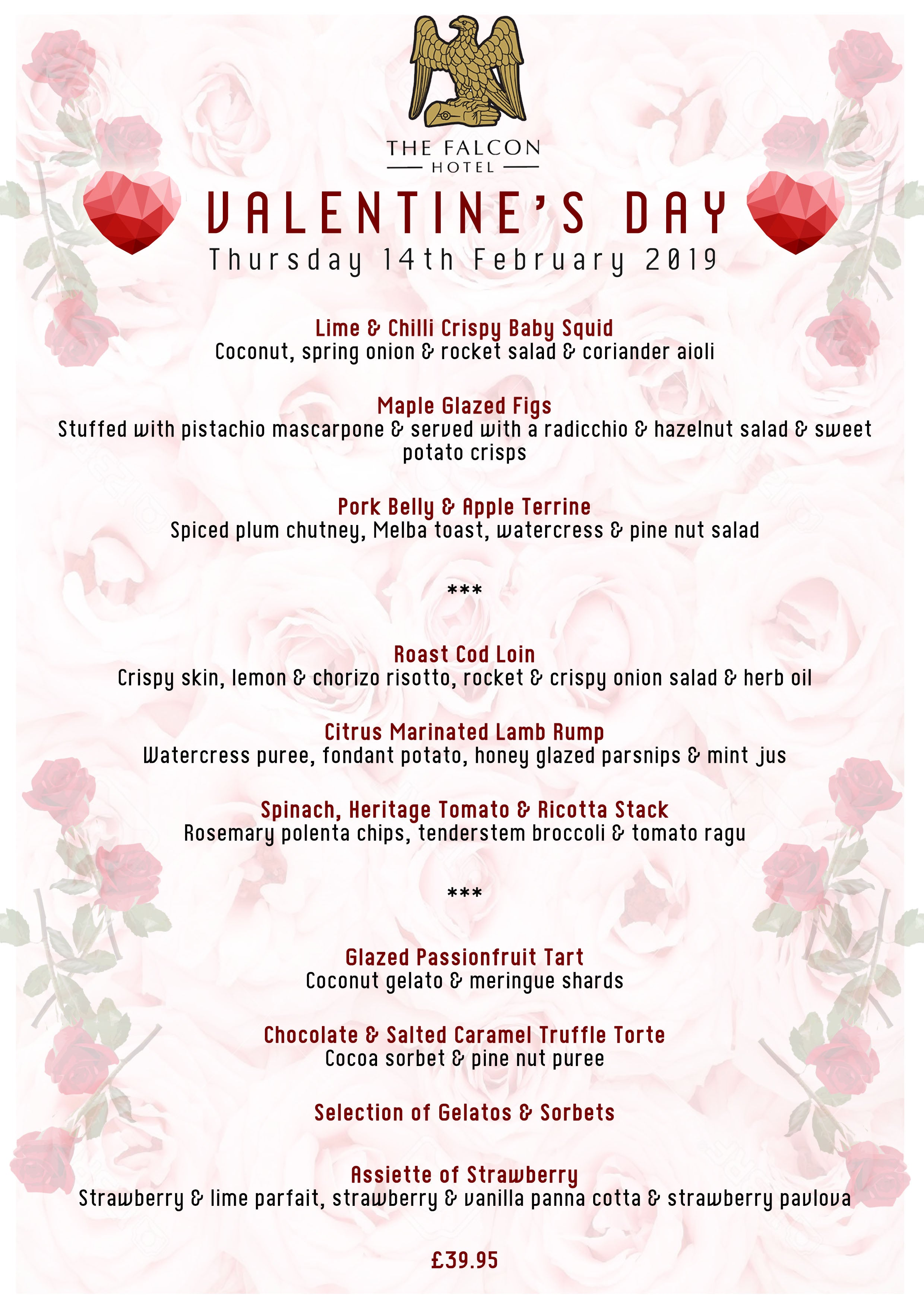 Valentine S Day Thursday 14th February 2019 The Falcon Hotel
