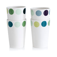 4 X Cup, Dot -4 different blue/green variations