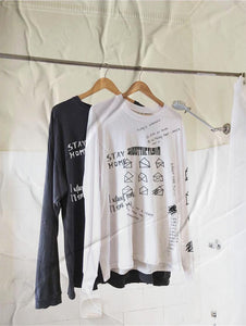 .c / SR Quarantine Stay Home - WHITE and BLACK - Long Sleeve