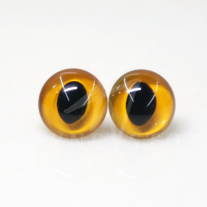 Enamel Cat Glass Eyes Medium Yellow - Narrow Loop