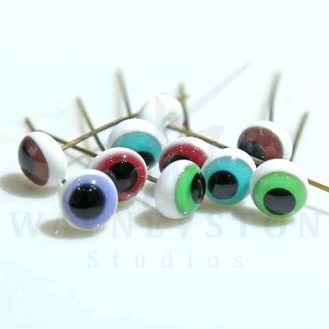 Japanese Coloured Glass Eyes - Straight Wire