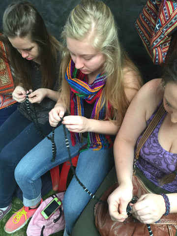 Making ikat yarns on study tour to Guatemala