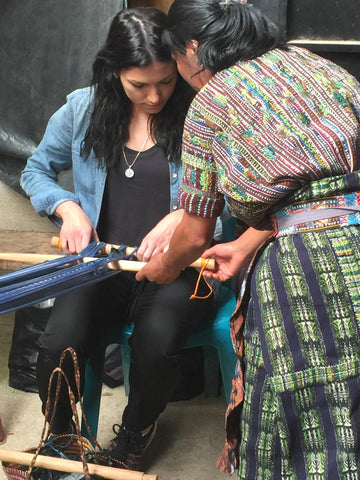 Learning to weave on a backstrap loom - Guatemala trip