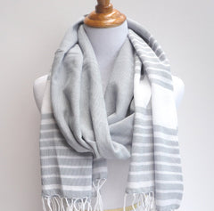 ethically sourced gray and white scarf