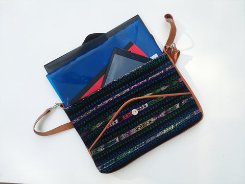 Ethical Messenger bag or Clutch Bag with Ikat & Leather ON SALE NOW FOR $35.00.
