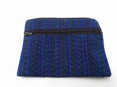 Electric Blue Fair Trade Upcyced Large Coin Purse, Wallet, or Cosmetic Bag