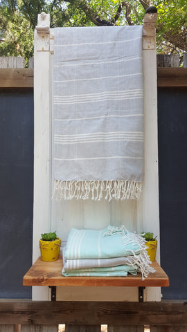 Stonewashed Gray Handwoven Fouta, Fair Trade