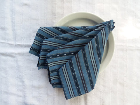 Unique Handwoven Cloth Dinner Napkins, Blues with Ikat, Set 4