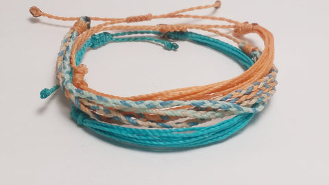 "Fair Trade Friendship Bracelet Stacking Set  ""Ocean Sands"""
