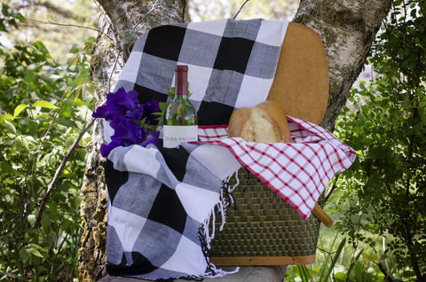 Black and White Buffalo Plaid Picnic Blanket, Child-sized Beach Towel.
