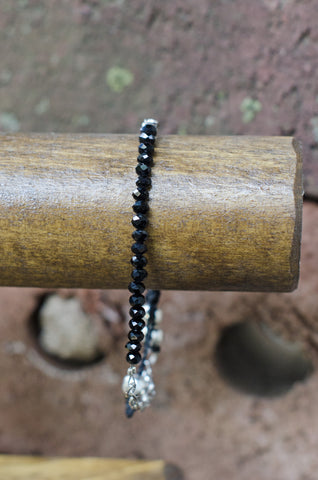 New!  Black Crystal Bead Bracelet, Fair Trade, Bracelet 2 Educate