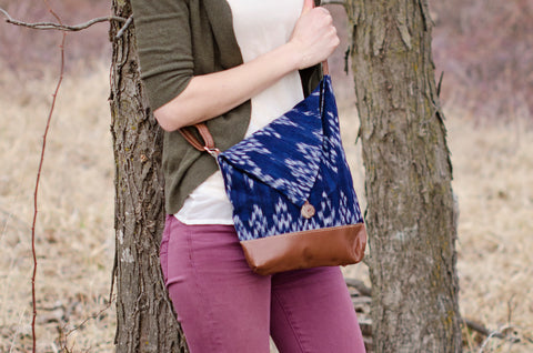 Fair Trade, Ikat and Leather Crossbody Bag