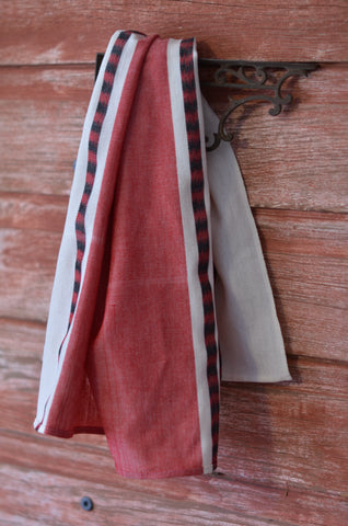 Mayan Ikat Handwoven Cotton Kitchen Towel, Black or Red