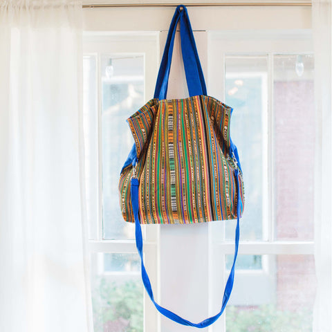 Electric Blue Foldover Messenger Tote Bag, Upcyled Fair Trade