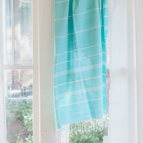 'Buy One, Give One, Help One' Aqua Peshtemal Turkish Towel, Ethical Fashion