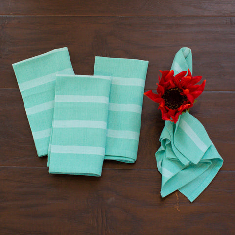 Fair Trade, Handwoven Cloth Napkins in Mint, Blue, Yellow and Coral