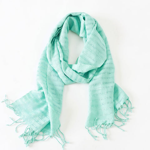 Soft Aqua Mint Fair Trade Scarf, Handwoven, Long
