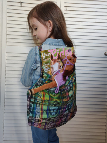 Repurposed, Fair trade, Drawstring Cloth Backpack