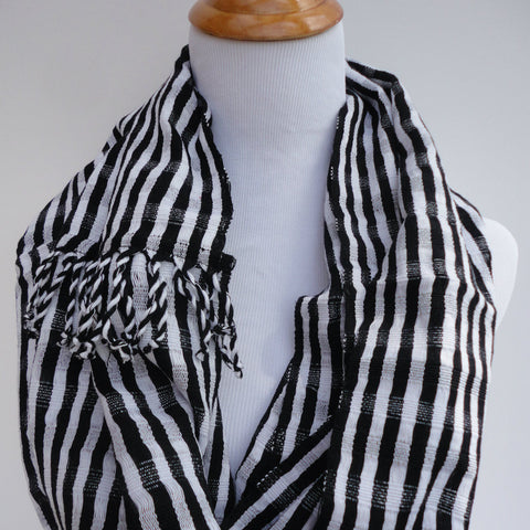 Men's or Women's Black and White Stripe Infinity Scarf