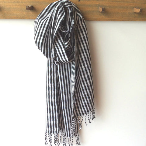 Backstrap loom woven black white scarf, eco