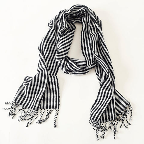 "Unisex, Black and White Fair Trade Scarf  ""Night & Day"""