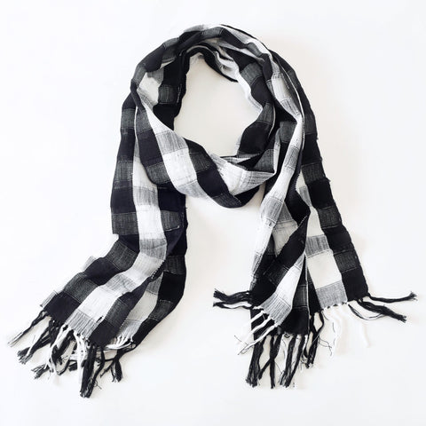 Unisex Black and White Plaid Scarf, Ethical Fashion, Handwoven